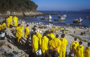 "Prestige Oil Spill On the Islas de Ceis, volunteers assemble to clear the beaches of oil from the sunked tanker ""Prestige"". Galicia, Spain. December 2002."