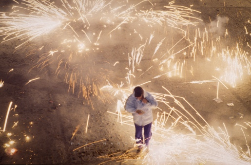"""""""Los Rateros"""" fireworks. Requena, Valencia, Spain. January 2003."""
