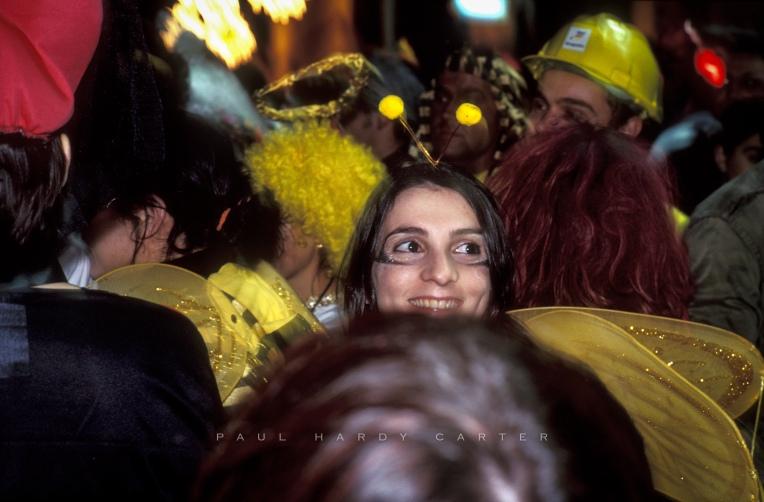 Carnival-goers in fancy dress. Pego, Alicante, Spain. March 2003.