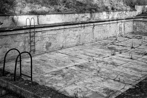 Theresienstadt Swimming pool built during the Nazi era for the enjoyment of the SS guards and their families. The prison execution yard is 100 metres away. Small Fortress, Terezin, Czech Republic. November 2003.