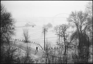 Morning walk River Sava, Belgrade, Serbia. February 2004.