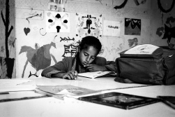 Child Migrants Tangier A girl studies during French class at 'The Blue House'